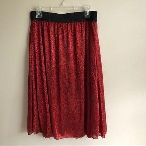 Lularoe Shimmery Red Lola Skirt